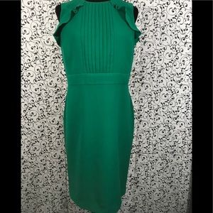 Ann Taylor Green Pleated Ruffle Sheath Dress